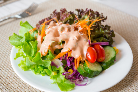 Greek Salad with thousand island dressing
