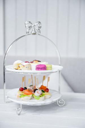 tea set: High Tea set with macaroons and Seafood cocktail