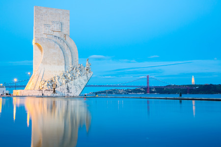 discoveries: monument to the discoveries Lisbon Portugal at dusk Editorial