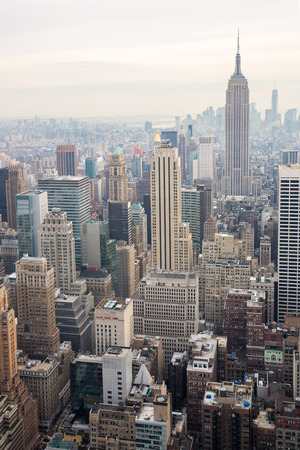 city square: New York City skyline with urban skyscrapers USA. Stock Photo