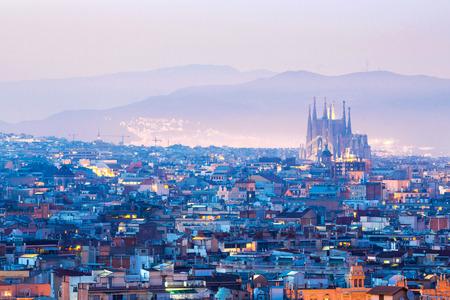spain: Barcelona Cityscape at dusk Spain
