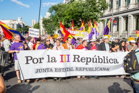 protesters: Madrid - JUN 7: Thousands of protesters have taken to the streets of Madrid to demand a referendum to abolish Spain Editorial