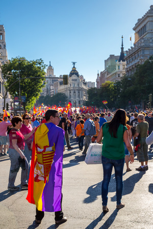 anti racist: Madrid - JUN 7: Thousands of protesters have taken to the streets of Madrid to demand a referendum to abolish Spain Editorial
