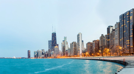 the sears tower: Panorama of City of Chicago downtown and Lake Michigan at dusk
