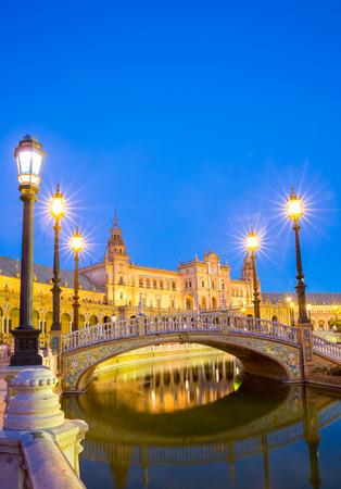 sevilla: Spanish Square espana Plaza in Sevilla Spain at dusk Editorial