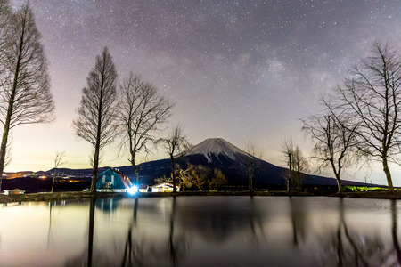 Mount Fuji Fujisan with Star and milkyway before sunrise photo
