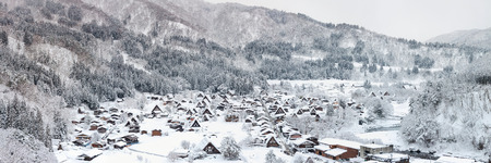 gifu: Aerial Shirakawago panorama winter Snow Gifu Chubu Japan