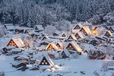 Shirakawago light-up with Snowfall Gifu Chubu Japan Stock Photo