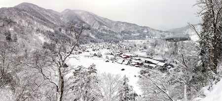 Aerial Shirakawago panorama winter Snow Gifu Chubu Japan photo