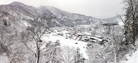 shirakawa go: Aerial Shirakawago panorama winter Snow Gifu Chubu Japan