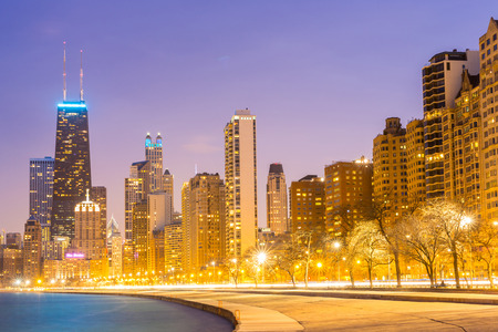 Chicago: Chicago downtown and Lake Michigan at dusk Stock Photo