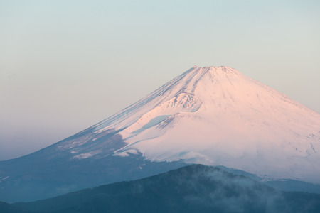 japan sky: Mountain Fuji in winter sunrise at Hakone Lake