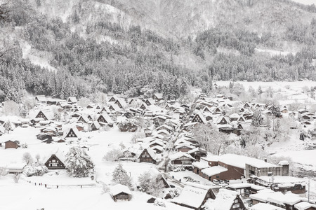 Aerial Shirakawago winter Snow Gifu Chubu Japan