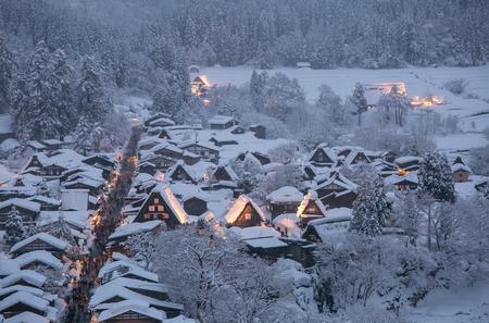 shirakawa go: Shirakawago light-up with Snowfall Gifu Chubu Japan Stock Photo