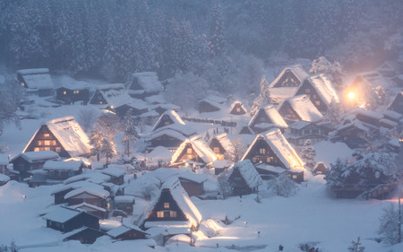 lightup: Shirakawago light-up with Snowfall Gifu Chubu Japan Stock Photo