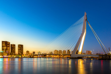 rotterdam: Erasmus bridge over the river Meuse in , the Netherlands