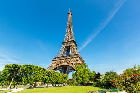 Eiffel Tower with blue sky, Paris France