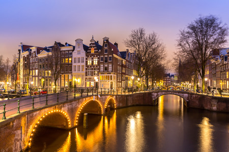 Amsterdam Canals West side at dusk Natherlands photo