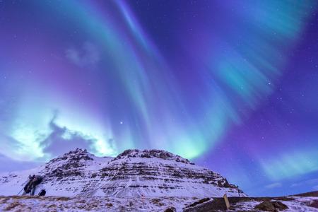 Die Herz Nordlicht Aurora Borealis am Kirkjufell Island Standard-Bild - 39729666