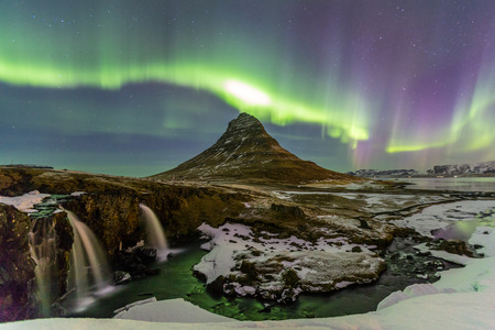 The Northern Light Aurora borealis at Kirkjufell Iceland photo