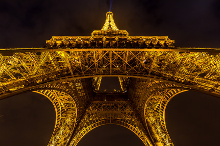 newsworthy: Paris  MAR 14: Eiffel Tower illumination Show on March 14 2015. Eiffel Tower is the highest monument in France use 20000 light bulbs in the show. Editorial