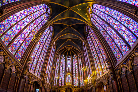 PARIS FRANCE March 15 2015: The Sainte Chapelle Holy Chapel in Paris France. The Sainte Chapelle is a royal medieval Gothic chapel in Paris and one of the most famous monuments of the city 報道画像