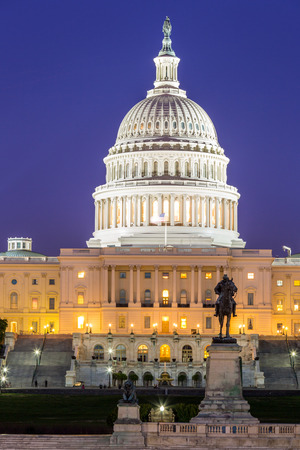capitol building: US Capitol Building at dusk, Washington DC, USA Stock Photo