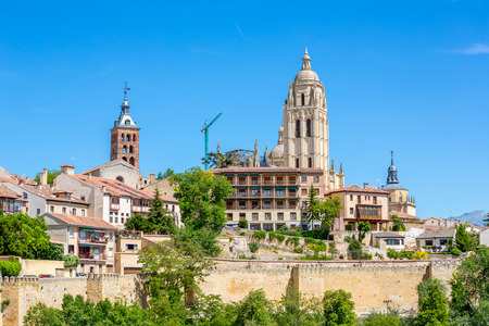 segovia: Ancient Old town of Segovia Spain Stock Photo