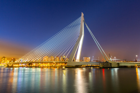 rotterdam: Erasmus bridge over the river Meuse in  the Netherlands