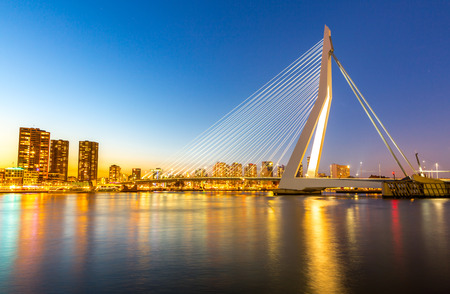 meuse: Erasmus bridge over the river Meuse in  the Netherlands