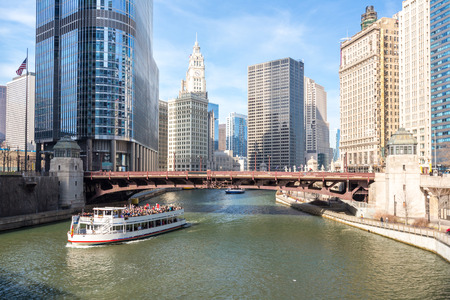 waterfront: Chicago downtown and River with bridges