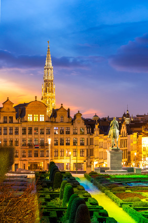 Brussels Cityscape from Monts des Arts at dusk Belgium