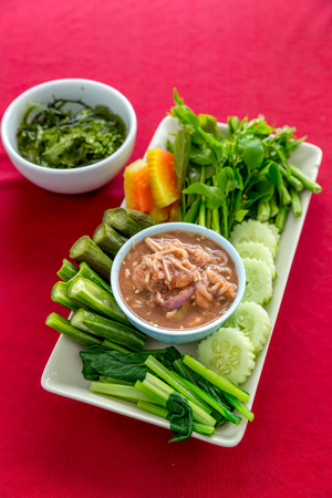 cleave: Fresh Shrimp paste chilli sauce with vareity of vegetables thai food Stock Photo