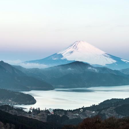 winter sunrise: Panorama Mountain Fuji in winter sunrise at Hakone Lake Stock Photo