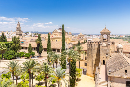 aerial view: Cordoba Alcazar , Cordoba , Andalusia , Spain