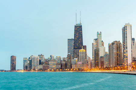 Chicago downtown and Lake Michigan at dusk 写真素材