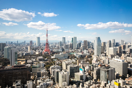 temple tower: Aerial view Tokyo Tower cityscape Japan Stock Photo
