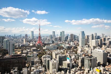 ponte giapponese: Veduta aerea Torre di Tokyo paesaggio urbano in Giappone