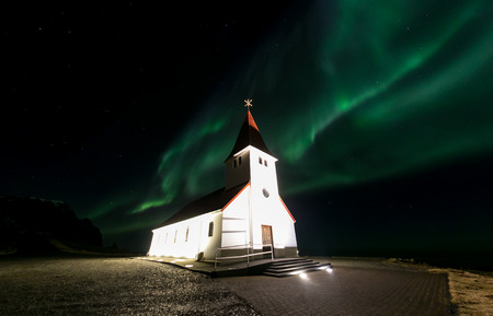 northern light: The Northern Light Aurora borealis at Vik Church Iceland