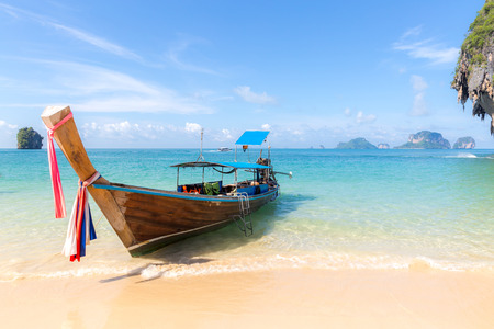 long tail: Tropical beach, traditional long tail boats, Andaman Sea, Thailand