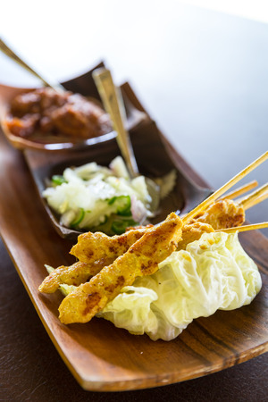 chicken satay: Delicious Asian Cuisine Chicken Satay Curry Stock Photo