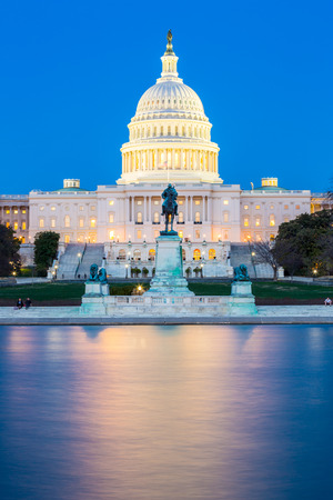 election night: US Capitol Building at dusk, Washington DC, USA Editorial
