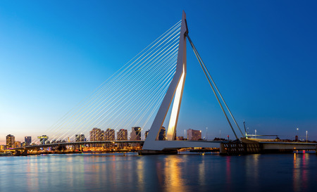 river view: Panorama Erasmus bridge over the river Meuse in , the Netherlands Stock Photo
