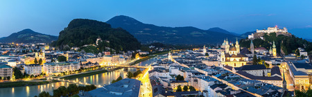 amadeus mozart: Panorama Beautiful view of the historic city of Salzburger Land, Austria at dusk Stock Photo