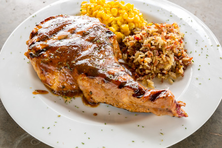 grilled pork chop: Gourmet Main Entree Course grilled pork chop