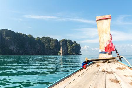 thailand beach: Tropical beach, traditional long tail boats, Andaman Sea, Thailand