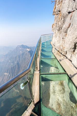 glass fence: Glass sky walk at Tianmenshan Tianmen Mountain Zhangjiajie China