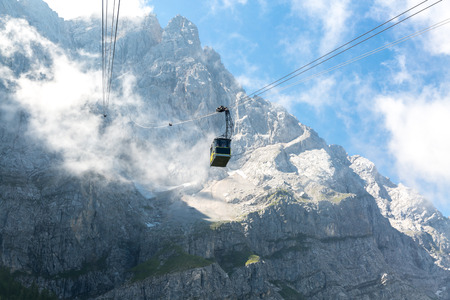 zugspitze mountain: Cable car to Zugspitze Alpine Alps mountain  top of Germany