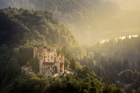 and germany: Beautiful summer sunset view of the Hohenschwangau castle at Fussen Bavaria, Germany