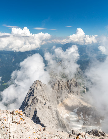 zugspitze mountain: Landscape of Alpine Alps mountain view from Zugspitze top of Germany